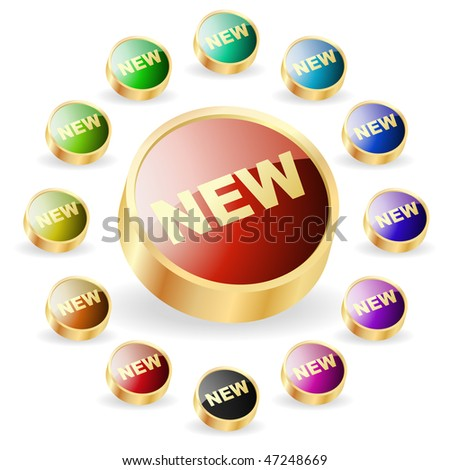 NEW buttons. Vector set.