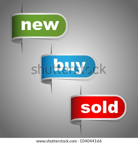 New, buy and sold labels. Vector - stock vector