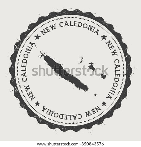 New Caledonia. Hipster round rubber stamp with New Caledonia map. Vintage passport stamp with circular text and stars, vector illustration - stock vector