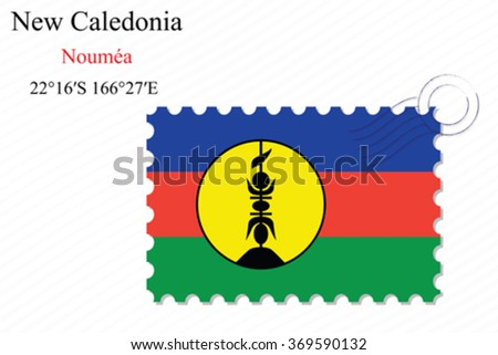 new caledonia stamp design over stripy background, abstract vector art illustration, image contains transparency - stock vector