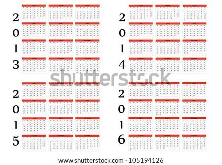 New Calendar of 2013-2014-2015-2016 - stock vector