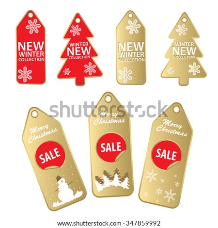 New christmas gold and red sale labels isolated o white. - stock vector