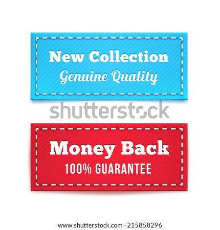 New Collection and Money Back Tag Badges in Blue and Red - stock vector