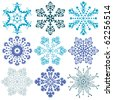 New collection blue and violet snowflakes isolated on white (vector) - stock vector