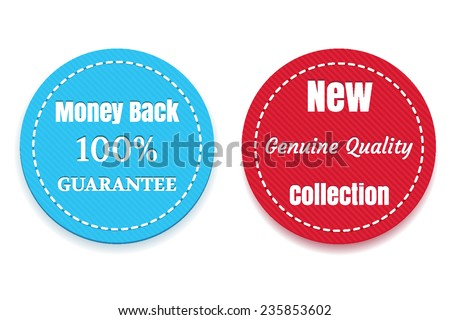 New Collection, Money Back badges - stock vector