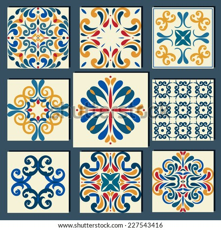 New Collection of 9 ceramic tiles, blue-orange style - stock vector