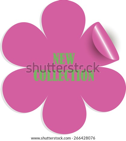 New Collection Sticker. Green letters on pink flower. Sticker. Vector. - stock vector