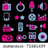 new colorful media icons, vector - stock vector