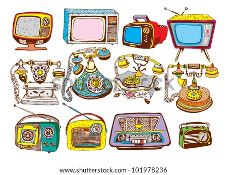 New Colorful Retro Tech Collection (vector) - stock vector
