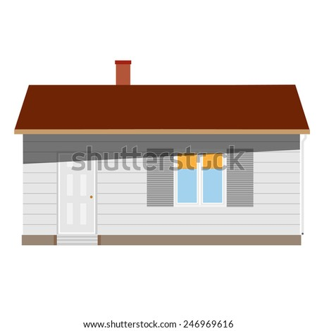 New cottage, house one story, real estate, home vector isolated, sale