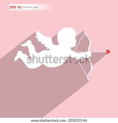 New cupid angel vector valentine card and wedding design, love symbol - stock vector
