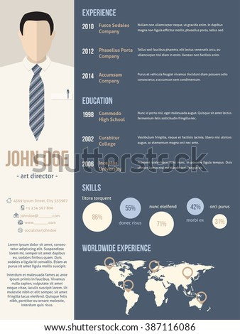 New curriculum vitae resume cv template with business man photo - stock vector