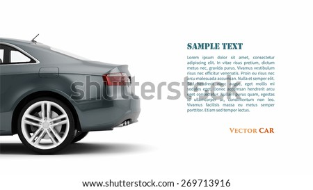 New 3d generic luxury detail sports car illustration isolated on a white background. Vector - stock vector
