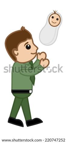 New Dad - Vector Character Cartoon Illustration - stock vector