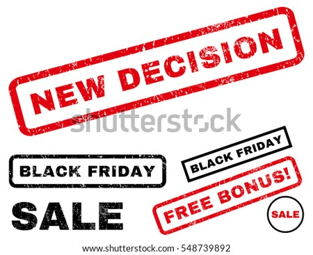 New Decision rubber seal stamp watermark with additional design elements for Black Friday sales. Vector red and black emblems. Caption inside rectangular banner with grunge design and dust texture.
