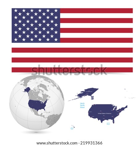 New Detailed vector  flag with Map world of America,USA. Names, town marks and national borders are in separate layers. with globe That separates by Continent. - stock vector