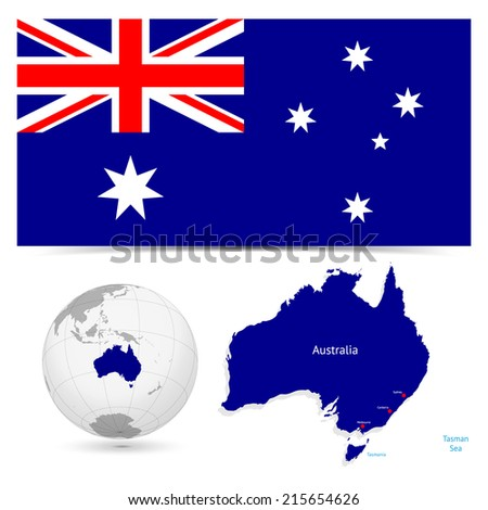 New Detailed vector  flag with Map world of Australia. Names, town marks and national borders are in separate layers. with globe That separates by Continent. - stock vector