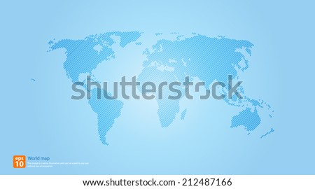 New Detailed vector Map world of line blue colors. - stock vector