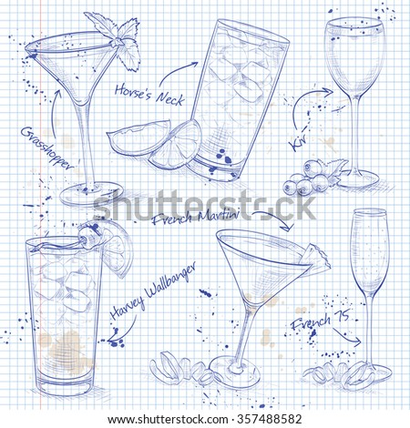 New Era Cocktail Set  on a notebook page , excellent vector illustration, EPS 10 - stock vector