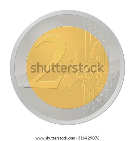New 2 EURO coin - stock vector