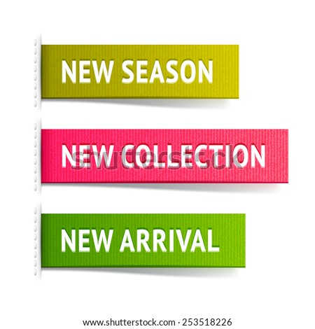 New fabric label vector set; season, collection and arrival tags, shopping design  elements  - stock vector