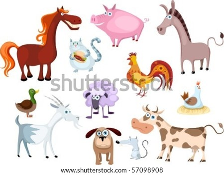 new farm animal set - stock vector