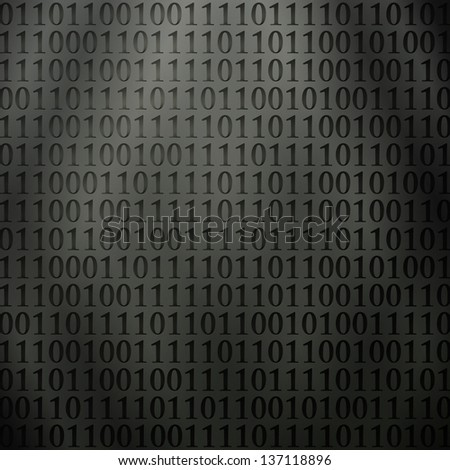 new futuristic background with perforated binary code on metallic wall - stock vector