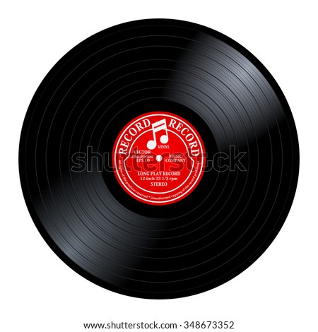 New gramophone red label vinyl LP record with music note. Black musical long play album disc 33 rpm. old technology, realistic retro design, vector art image illustration, isolated on white background - stock vector