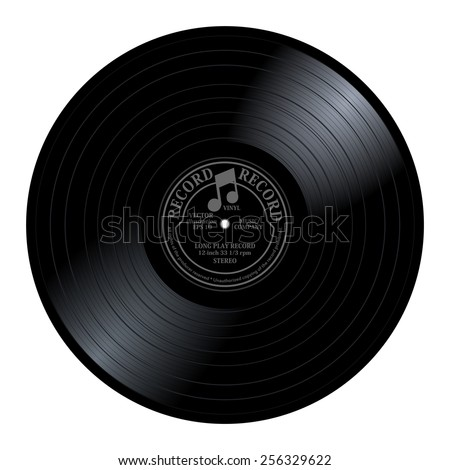 New gramophone vinyl LP record with gray / black label. Dark musical long play album disc 33 rpm. old technology, realistic retro design, vector art image illustration, isolated on white background - stock vector