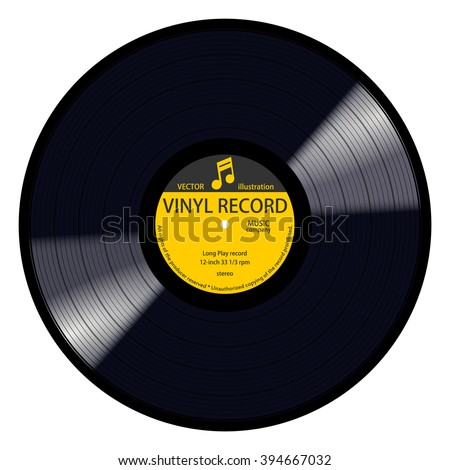 New gramophone yellow label vinyl LP record with music note. Black musical long play album disc 33 rpm. old technology, realistic retro design, vector image illustration, isolated on white background - stock vector