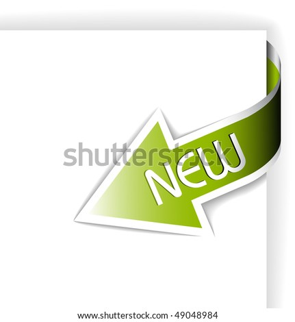 New green corner ribbon - arrow pointing at the content (vector) - stock vector