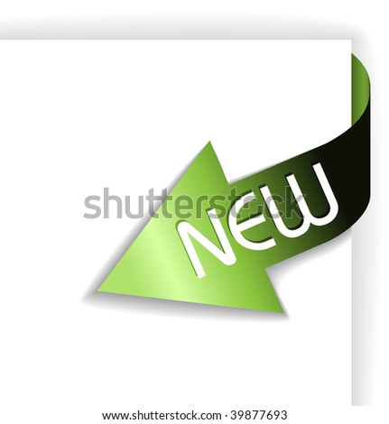 New green corner ribbon - arrow pointing to the content - stock vector