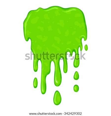 New green slime symbol isolated on a white background - stock vector