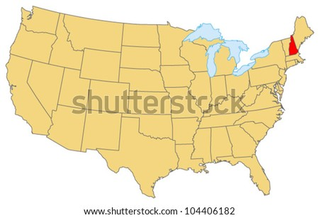 New Hampshire Locate Map - stock vector