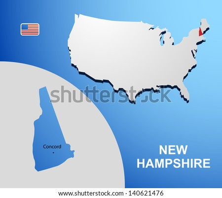 New Hampshire on USA map with map of the state