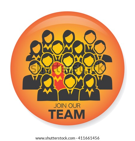 New Hire Button Portraying Different People with Men and Women in Suits and One Person Standing Out as the Person who got Hired - stock vector