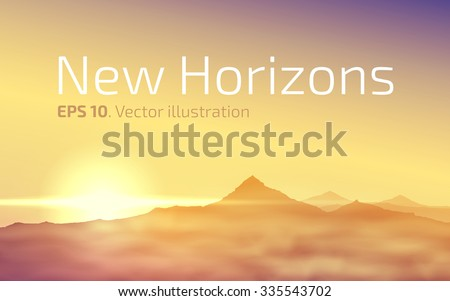 New horizons. The mountain peaks on the background of the rising sun. Vector illustration - stock vector