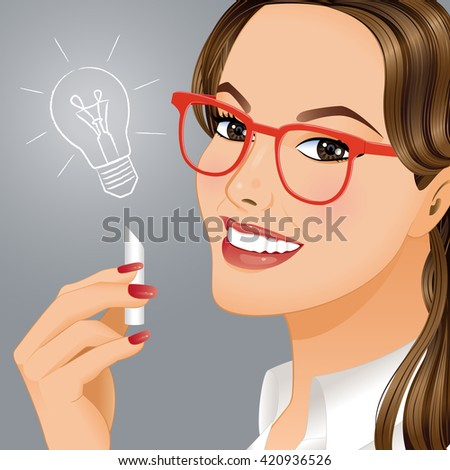 New idea.Portrait of young woman who understood how to solve difficult problem. - stock vector