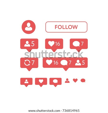 New Instagram Like Symbol Message Notification Stock Vector 2018
