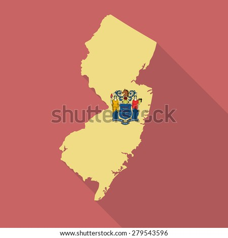New Jersey flag,map flat icon with long shadow. Vector EPS10