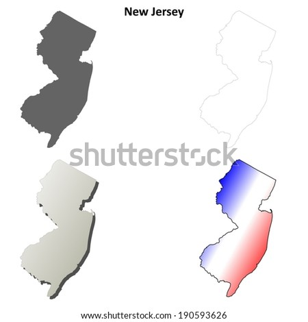 New Jersey outline map set - vector version - stock vector