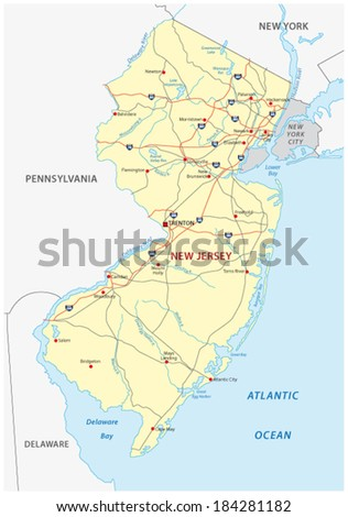new jersey road map - stock vector