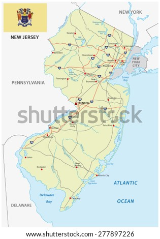 new jersey road map with flag - stock vector