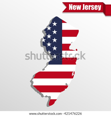 New  Jersey State map with US flag inside and ribbon