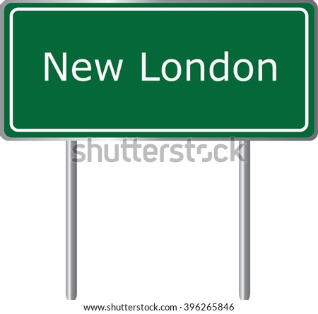 New London , Connecticut , road sign green vector illustration, road table, USA city - stock vector