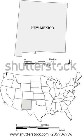 New Mexico map with the scale - stock vector