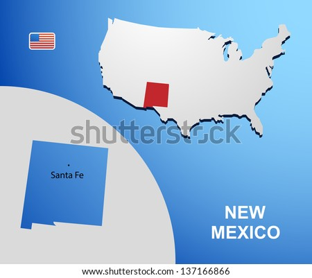 New Mexico on USA map with map of the state