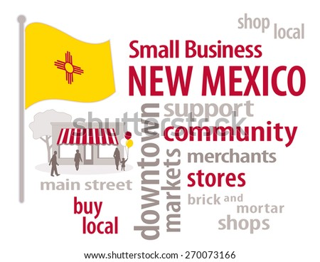 New Mexico Small Business, gold with red Zia symbol New Mexico state flag of the United States of America, word cloud, shop at local, community, neighborhood, main street businesses. EPS8 compatible. - stock vector