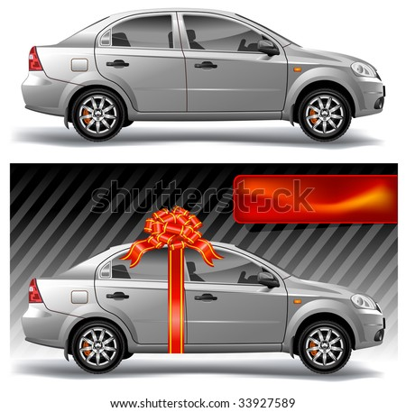 New model of vector auto with red bow, vector, illustration - stock vector