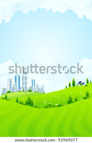 New modern city in clouds with blue sky - stock vector